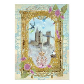 Castelo do conto de fadas nos convites das névoas convite 12.7 x 17.78cm