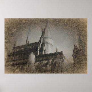 Castelo do poster do esboço no monte