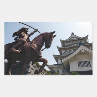 Castelo e guerreiro japoneses em Chiba Adesivo Retangular
