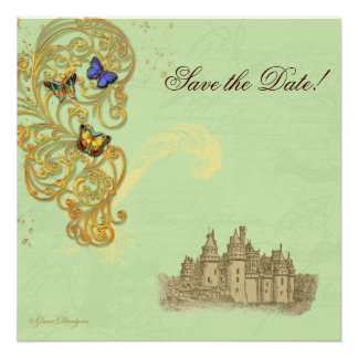 Castelo medieval do conto de fadas convites personalizado