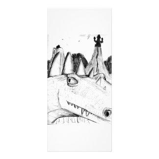 Castelo principal do desenho do dragão no animal d 10.16 x 22.86cm panfleto