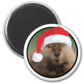 Castor do Natal - padrão, ímã redondo da polegada Ímã Redondo 5.08cm