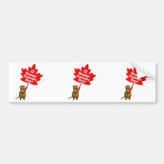Castor e folha de bordo do dia de Canadá Adesivos