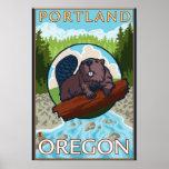 Castor & rio - Portland, Oregon Impressão