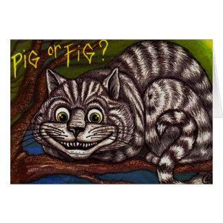 CAT Alice de CHESHIRE no cartão de nota do país