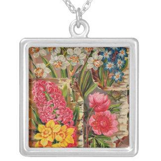 Catálogo de florescência dos bulbos colar com pendente quadrado