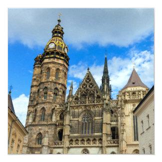Catedral do St. Elisabeth em Kosice, Slovakia Convite Quadrado 13.35 X 13.35cm