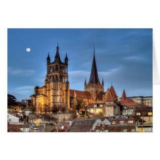 Catedral Notre Dame de Lausana, suiça, HDR Cartão Comemorativo