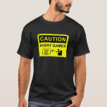 Caution Angry Gamer Camiseta