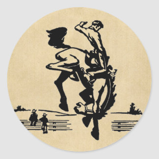 Cavaleiro Bucking do bronco Adesivo Redondo