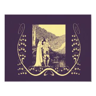 Cavaleiro de Beardsley Nouveau & senhora Casamento Convite 10.79 X 13.97cm