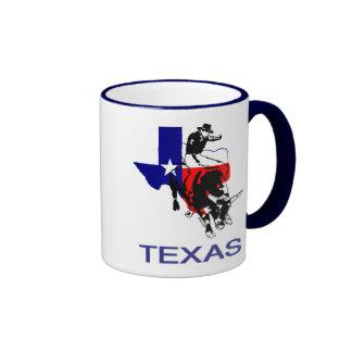 Cavaleiro de Bull do rodeio do estado do Texas Caneca Com Contorno