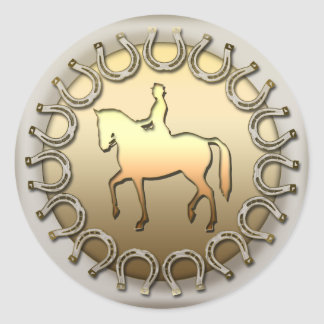 Cavaleiro e ferraduras do cavalo do adestramento adesivos em formato redondos
