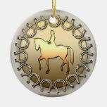 Cavaleiro e ferraduras do cavalo do adestramento enfeite para arvore de natal
