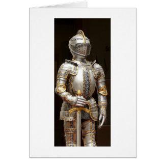 Cavaleiro em namorados da armadura ou no cartão de