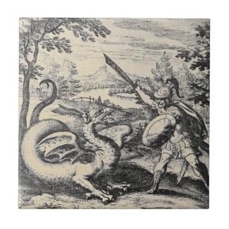 Cavaleiro na armadura que massacra o dragão