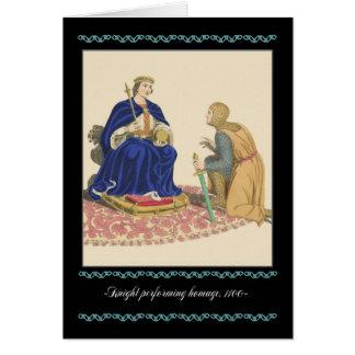 Cavaleiros e cartão de nota medieval da armadura,