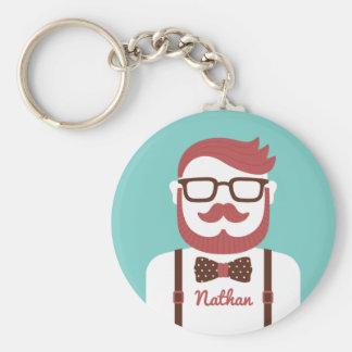 Cavalheiro do hipster do Moustache seu chaveiro