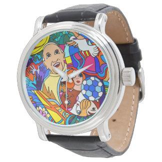 Cavalheiro relógio com pulseira de couro preto