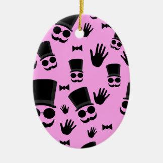 Cavalheiro - teste padrão cor-de-rosa ornamento de cerâmica oval