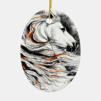Cavalo andaluz cómico ornamento de cerâmica oval