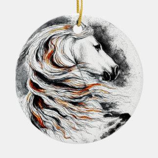 Cavalo andaluz cómico ornamento de cerâmica redondo