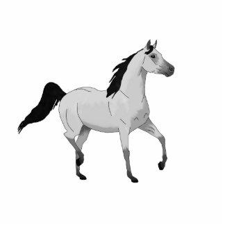Cavalo árabe cinzento do rato que trota e que escultura foto