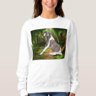 Cavalo bonito de assento da pintura na floresta moletom