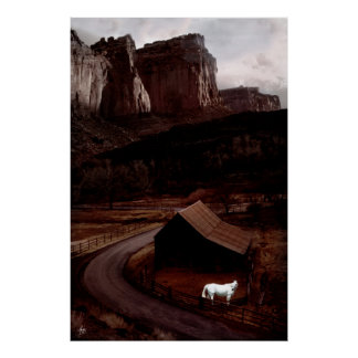 Cavalo branco no poster de Utá Canyonlands