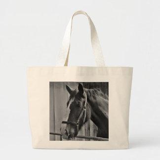Cavalo branco preto - arte animal da fotografia bolsa tote grande