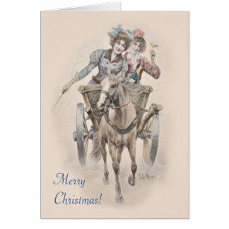 Cavalo, carro e Natal das meninas Cartão Comemorativo