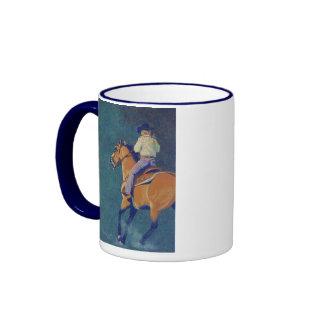 cavalo, cavaleiro, rodeio caneca com contorno