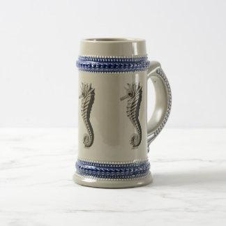 Cavalo cinzento/azul da caneca de cerveja - de mar
