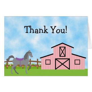 Cavalo cinzento bonito e obrigado cor-de-rosa do cartão de nota