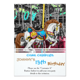 Cavalo colorido do carrossel no carnaval convite 12.7 x 17.78cm