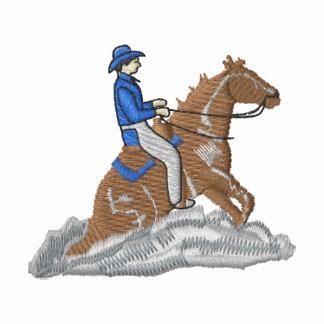 Cavalo controlando agasalho track de lã bordado