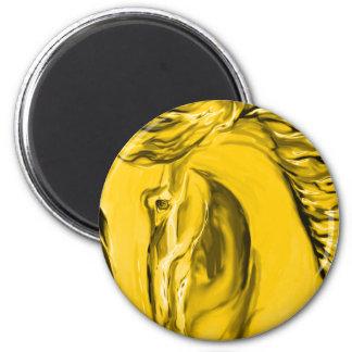 Cavalo customizável do ouro ímã redondo 5.08cm