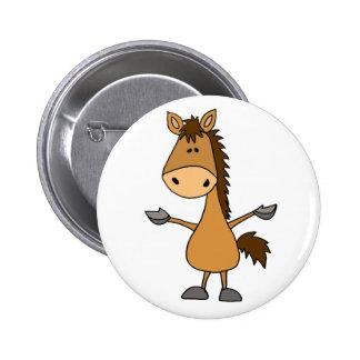 Cavalo de baía engraçado dos desenhos animados bóton redondo 5.08cm