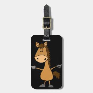 Cavalo de baía engraçado dos desenhos animados tags de mala