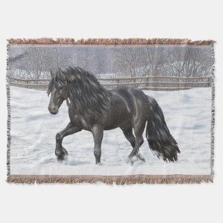 Cavalo de esboço preto do frisão manta