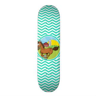 Cavalo de fazenda; Aqua Chevron verde Skate