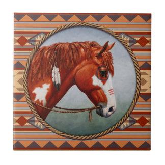Cavalo de guerra do nativo americano invertido azulejo de cerâmica
