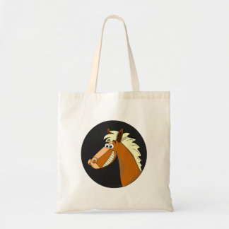 Cavalo de sorriso dos desenhos animados bolsa de lona