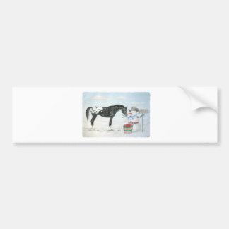 Cavalo do Appaloosa com o boneco de neve, retangul Adesivo Para Carro