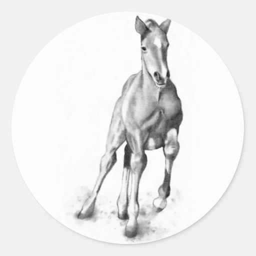 Cavalo do bebê, corredor do potro: Arte do lápis Adesivo Redondo