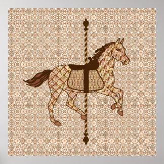 Cavalo do carrossel - castanho chocolate e Tan Poster