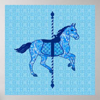 Cavalo do carrossel - cobalto e azul-céu poster