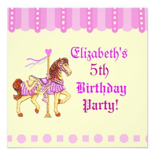 Cavalo do carrossel da festa de aniversário convite