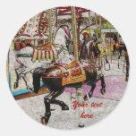 cavalo do carrossel do vintage adesivo em formato redondo