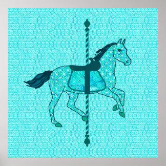 Cavalo do carrossel - turquesa e Aqua